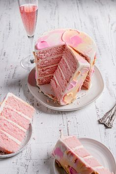 This Champagne Cake is so tender, soft, and is the perfect addition to any celebration. |#cake #pinkchampagnecake #pinkchampagne #layercake #SweetSixtieth #birthdaycake #pinkchampagnerecipe #champagnerecipe #cakerecipe #pinkcake | Fun Baking Recipes, Delicious Cake Recipes, Homemade Cake Recipes, Best Dessert Recipes, Sweet Desserts, Cupcake Recipes, Yummy Cakes, Cupcake Cakes, Baker Recipes