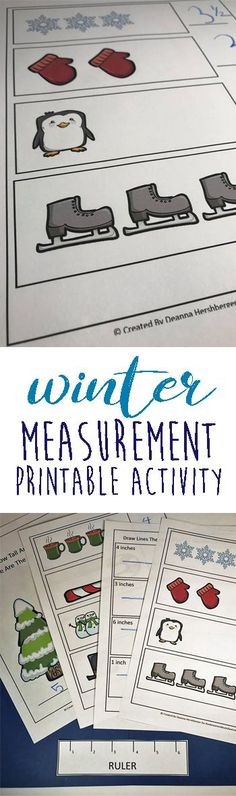 FREE Winter Measurement Activities perfect for kindergarten, preschool, and first grade students practice using a ruler with these fun, free printable, winter themed measurement worksheets