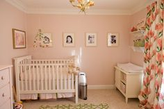 White Kendall Fixed Gate Crib (the pink walls are a bit much but I love the spacing of the frames and those curtains!