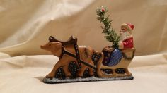 Santa in a Sleigh and his Reindeer by 1840StoneHouse on Etsy