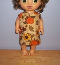 Baby 12 inch Alive doll handmade dress tan with pumpkins on it by sue18inchdollclothes on Etsy
