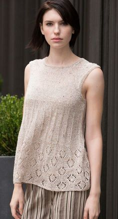 Knitting pattern for Lafayette Tunic sleeveless top - Lace tank knit in the round from the bottom up, and separated at the armholes. Small (Medium, Large, XL, 2X/3X)