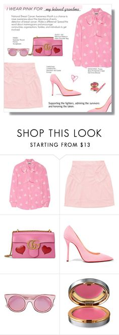 """""""WHO DO YOU WEAR PINK FOR"""" by larissa-takahassi ❤ liked on Polyvore featuring Moschino, Gucci, Christian Louboutin, Fendi, La Prairie, Tweezerman and breastcancerawareness"""