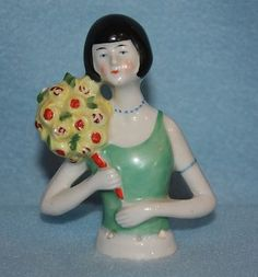 "4"" Antique German Half Doll Flapper Holding Large Bouquet of Flowers 