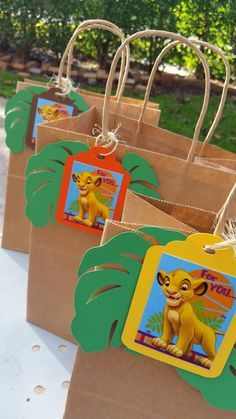 Lion King favor bags, Simba favor bags I q, Jungle favor bags Check out this item in my Etsy shop https://www.etsy.com/listing/234897244/lion-king-favor-bags-tags-simba-favor