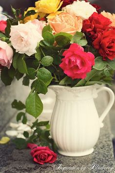 Nothing like roses in a white pitcher