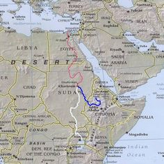 Course of the Nile River.  the Blue Nile begins in Ethiopia, the White Nile in Uganda,  they converge in Khartoum in Sudan.