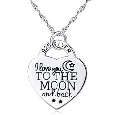 "Sterling Silver Necklace 18"" ( I love You To The Moon And Back )"