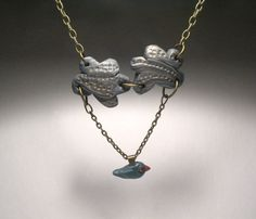 Bird in the Clouds Necklace  Wearable Art by DeliciousHobo on Etsy, $33.00
