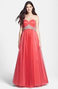 Sean Collection Embellished Strapless Tulle Ball Gown available at #Nordstrom