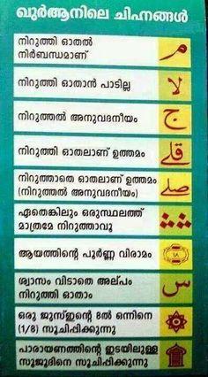 Islamic Software | Wallpaper | Greetings | Download : quran tajweed symbols in Malayalam and English