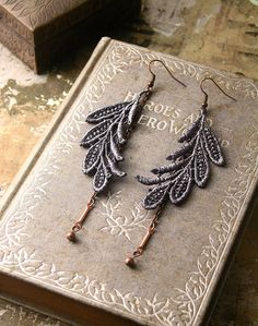 lace earrings  ELSA grey by whiteowl on Etsy, $22.00