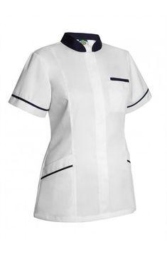 Elegante chaqueta sanitaria para mujer, ideal para ópticas, farmacias, clínicas, consultas y comercio en general. Blanco con lila o negro Alta calidad