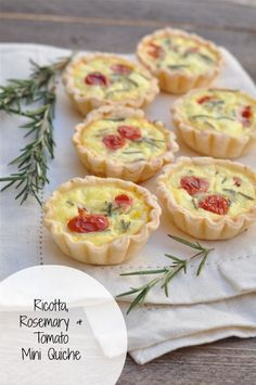 How about making these ricotta, rosemary, and tomato mini quiche for Christmas brunch? See more party ideas at CatchMyParty.com. #recipes #christmas #brunch