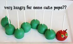 very hungry caterpillar cake pops!!!