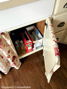 A Farmhouse Sink Skirt That Really Opens