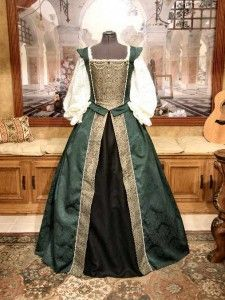 Renaissance Damask Court gown gown gown, a friend makes these awesome gowns, perfect for fair, faire, costume parties, theme events, weddings.  Impeccable attention to detail and finely crafted.