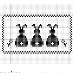 Three bunnies cross stitch.  Great chart for filet crochet.