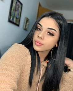 This is Brazilian Virgin Human Lace Front Hair Wigs Straight hair Pre-Plucked . Beauty Makeup, Hair Makeup, Hair Beauty, Eyelashes Makeup, Curly Hair Styles, Natural Hair Styles, Baddie Hairstyles, Latina Hairstyles, Baddie Makeup