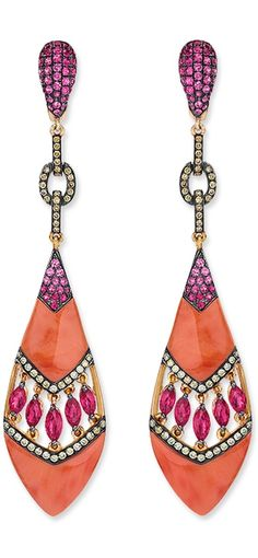 Coral Drop Earrings    Carved coral drops with a middle open chevron section with marquise-shaped rubies bordered with rows of diamonds, and pink sapphires at the top; in 18-karat rose gold.  Diamond weight: approximately 0.61 carat total; Ruby weight: approximately 2.40 carats total.