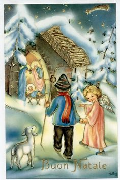 EDY Presepe con Neve Gesu Bambini Natale Angelo Rilievi in oro PC Circa 1930 5 Christmas Jesus, Christmas Card Crafts, Christmas Greeting Cards, Winter Christmas, Kids Christmas, Holiday Cards, Vintage Christmas Images, Christmas Pictures, Vintage Greeting Cards