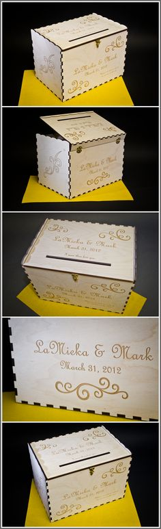 #Wedding GIFT TABLE card box, totally personalized with laser engraving - I can laser names, dates, graphics, photos, or your invitation. I look forward to designing a complimentary design for you, Scott       -   P.S.  4 sizes available
