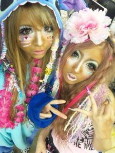 ☮JAPANESE STREET FASHiON☮••• manba / ganguro / kurogyaru★ makeup ~ kigurumi ~ flowers ~ face stickers ~ colorful ~ kawaii