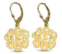 14kt. Gold Over Silver Personalized Earrings