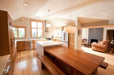 wood top kitchen island/table - split heights
