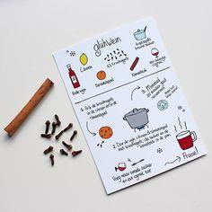Mulled wine recipe card | Illustrated | Cinnamon & clove optional | Dutch by studiokvinna on Etsy https://www.etsy.com/listing/261252467/mulled-wine-recipe-card-illustrated