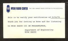 QSL WCAU 1210 kHz AM  RADIO 121  Philadelphia PA USA Medium Wave DXing 1971 | eBay