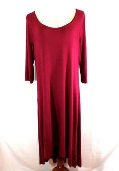 NWT GORGEOUS KENSIE Size XL BURGUNDY STRETCH HIGH-LOW HEM LAGENLOOK  DRESS  #Kensie #Lagenlook #Casual