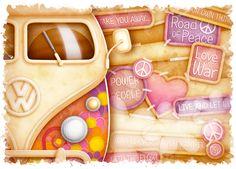"""Peace"" - VW Van by KJ Illustration, via Behance Mais Fb Cover Photos, Facebook Timeline Covers, Timeline Photos, Volkswagen, Stencil, Facebook Header, Fb Banner, Cover Wallpaper, Craft Images"