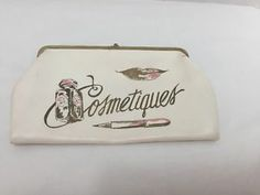 Vintage-Cosmetiques-Purse-Toiletry-Bag-Cosmetics-Beige-Leather-Brown-Pink