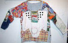 Eclectic Artisan Wearable Folk Art COLLAGE Oversized Collage FABRIC FOLK ART  mybonny