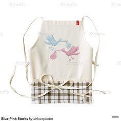 Blue Pink Storks Zazzle HEART Apron