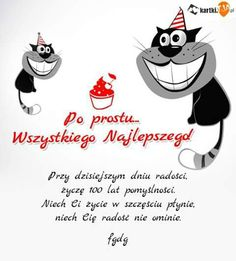 Życzenia Texts, Wish, Happy Birthday, Humor, Funny, Cards, Fictional Characters, Behance, Bedroom