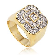 Men's Goldtone CZ Layered Squares Ring Sizes 7-17 (7)