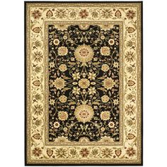 Charlton Home Ottis Black/Cream Area Rug Rug Size: