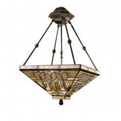 Dale Tiffany Ceiling Lights Oak Park Mission Three Light Inverted pendant in Antique Bronze - 7437/3LTY