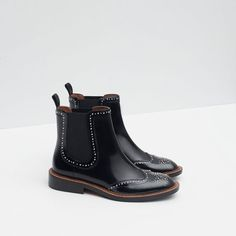 Image 5 of MICRO-STUDDED FLAT LEATHER BOOTIES from Zara