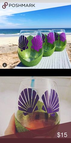 Mermaid wine glass hand painted with decals Hand was only hand painted mermaid princess theme wine glass Accessories