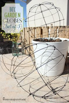 DIY Garden Globes or light cages from The Wood Grain Cottage Garden Crafts, Garden Projects, Garden Ideas, Container Gardening, Gardening Tips, Organic Gardening, Dame Nature, Outdoor Projects, Outdoor Decor