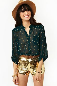 nasty gal. dotted pocket blouse. #fashion