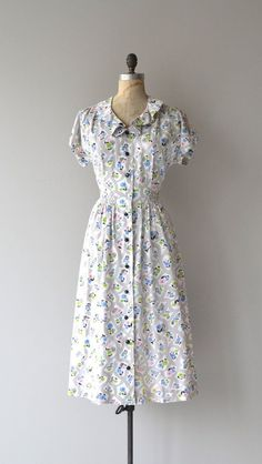 April Showers dress vintage 1940s dress cotton by DearGolden