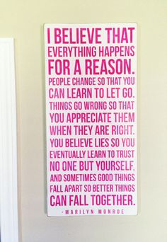 "Marilyn Monroe Quote - Distressed Wood Sign - ""Everything Happens..."""