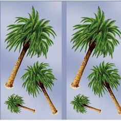 """Palm Tree Props Add-Ons - Palm Tree Props Add-Ons Package contains 6 Palm Tree Props Add-Ons that can be attached to backdrops or walls with your pins or adhesive (not included) or with Sticky Tack (sold separately). Palm Tree Props Add-Ons are printed on one plastic sheet and need to be cut out separately. Palm trees come in 3 sizes: 18"""""""" 31"""""""" and 48"""""""" high (package includes 2 of each size). Now just $5.99/pk of 6"""