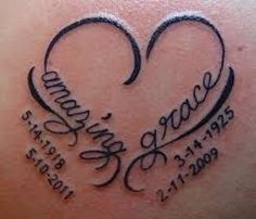 Image result for heart tattoo with names