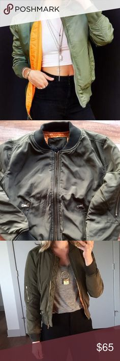 - MA1 STYLE - Army Green Bomber Jacket Army green Bomber with 2 side zipper pockets, inside pocket and arm zipper pocket. Orange satin lining. Perfect jacket to keep you warm & on trend all winter long! True to size. Perfect Holiday Gift! Pair with other items in my closet for 20% off!  No trades / selling off of Posh.  ✨Offers always welcome!✨ Claire Louise Boutique Jackets & Coats