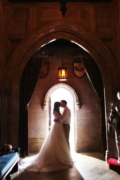 Kiss in the castle!  Bridal Portraits at the Magic Kingdom and Disney's Hollywood Studios: Morgan + Chris | Magical Day Weddings | A Wedding Atlas Fan Site for Disney Weddings